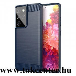 Samsung Galaxy S21 Ultra (SM-G998) 5G Szilikon telefonvédő (közepesen ütésálló, légpárnás sarok, szálcsiszolt, karbon minta) SÖTÉTKÉK