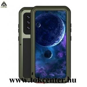 Samsung Galaxy A52 4G (SM-A525F) / Galaxy A52 5G (SM-A526F) LOVE MEI Defender telefonvédő gumi (ütésálló, fém keret) SÖTÉTZÖLD