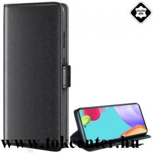 Samsung Galaxy A52 4G (SM-A525F) / Samsung Galaxy A52 5G (SM-A526F) Tok álló, valódi bőr (FLIP, oldalra nyíló, asztali tartó funkció) FEKETE