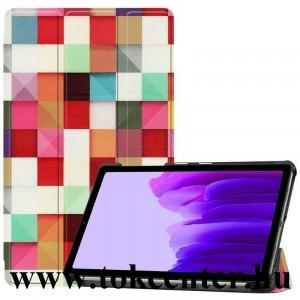 Samsung Galaxy Tab A7 Lite LTE (SM-T225) / Galaxy Tab A7 Lite WIFI (SM-T220) Tok álló, bőr hatású (FLIP, oldalra nyíló, TRIFOLD asztali tartó funkció, kocka minta) SZÍNES