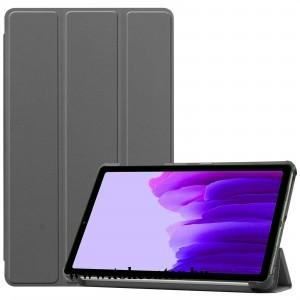 Samsung Galaxy Tab A7 Lite LTE (SM-T225) / Galaxy Tab A7 Lite WIFI (SM-T220) Tok álló, bőr hatású (aktív flip, oldalra nyíló, TRIFOLD asztali tartó funkció) SZÜRKE