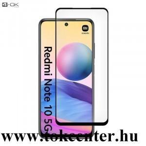 Xiaomi Redmi Note 10 5G 4-OK képernyővédő üveg (3D full glue, íves, teljes felületén tapad, tok barát, karcálló, 9H) FEKETE