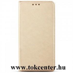 Samsung Galaxy S21 FE (SM-G990) Tok álló, bőr hatású (FLIP, oldalra nyíló, asztali tartó funkció, rombusz minta) ARANY