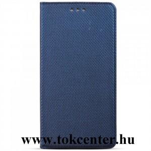 Samsung Galaxy S21 FE (SM-G990) Tok álló, bőr hatású (FLIP, oldalra nyíló, asztali tartó funkció, rombusz minta) SÖTÉTKÉK