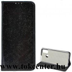 Samsung Galaxy S21 FE (SM-G990) Tok álló, bőr hatású (FLIP, szilikon belső, oldalra nyíló, asztali tartó funkció, bankkártya tartó, csillogó) FEKETE