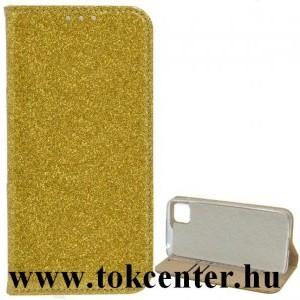 Samsung Galaxy S21 FE (SM-G990) Tok álló, bőr hatású (FLIP, szilikon belső, oldalra nyíló, asztali tartó funkció, bankkártya tartó, csillogó) ARANY