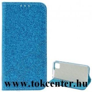 Samsung Galaxy S21 FE (SM-G990) Tok álló, bőr hatású (FLIP, szilikon belső, oldalra nyíló, asztali tartó funkció, bankkártya tartó, csillogó) VILÁGOSKÉK