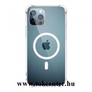 Apple iPhone 12 Pro Max Szilikon telefonvédő (mágneses, közepesen ütésálló, légpárnás sarok, MagSafe kompatibilis) ÁTLÁTSZÓ