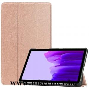 Samsung Galaxy Tab A7 Lite LTE (SM-T225) / Galaxy Tab A7 Lite WIFI (SM-T220) Tok álló, bőr hatású (aktív flip, oldalra nyíló, TRIFOLD asztali tartó funkció) ROZÉARANY