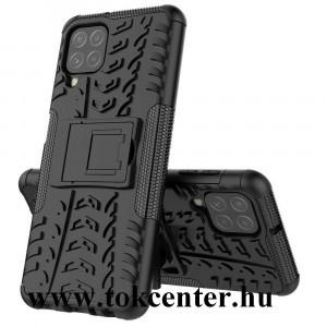 Samsung Galaxy A22 4G (SM-A225) Defender műanyag telefonvédő (közepesen ütésálló, szilikon belső, kitámasztó, autógumi minta) FEKETE